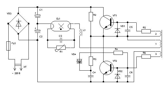 Возможная схема включения ламп