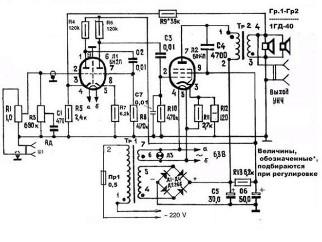 лампы: 6Н2П и 6П14П.