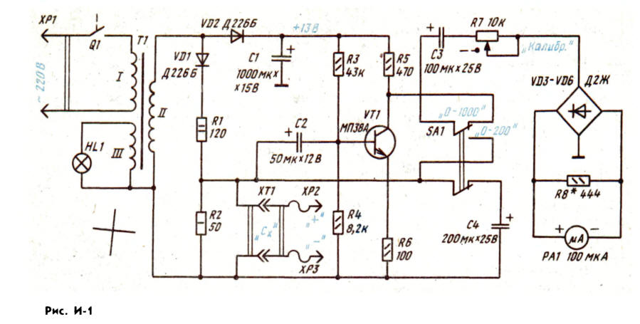 Простой измеритель емкости конденсаторов своими руками