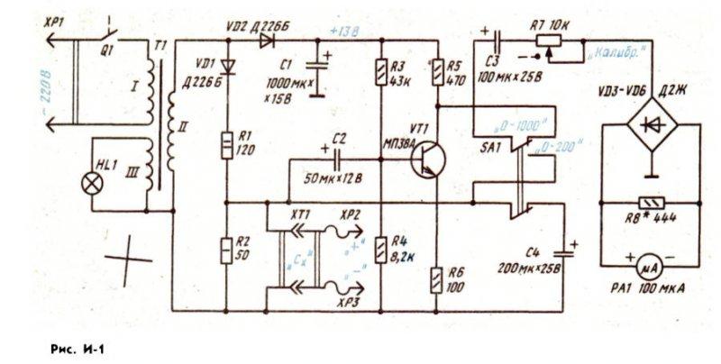 простая схема измерителя ёмкости конденсатора.