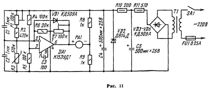 служит терморезистор R3.