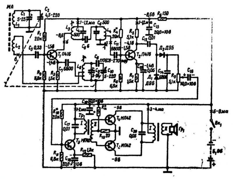 Приемник-супергетеродин на транзисторах (для радиоуправления)