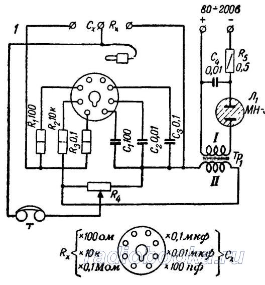 Мост для измерения сопротивлений и емкостей конденсаторов
