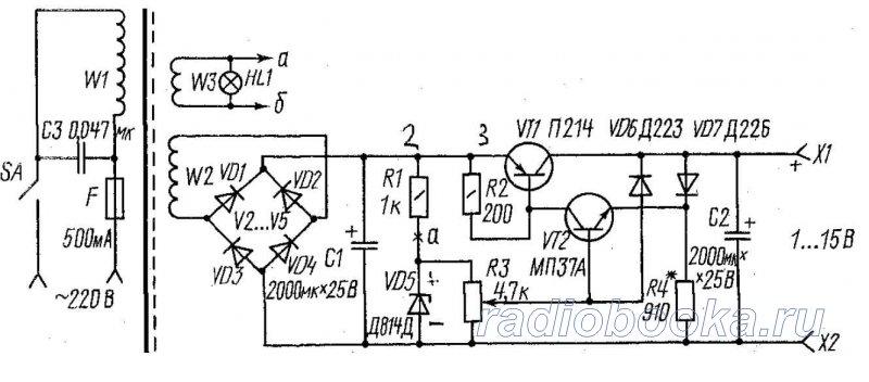 Простой ЛАБ с защитой и подробным описанием.  Рис. 13.17.  Схема регулируемого стабилизированного выпрямителя.