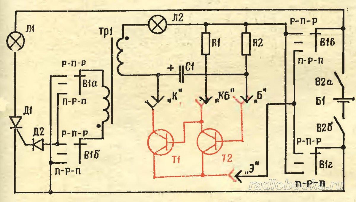 Рис. 3. Принципиальная схема универсального пробника для проверки транзисторов: R1 20 кОм, R2 5,1 кОм, R3 30 кОм, С1...