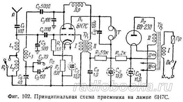 Приемник на лампе 6Н7С