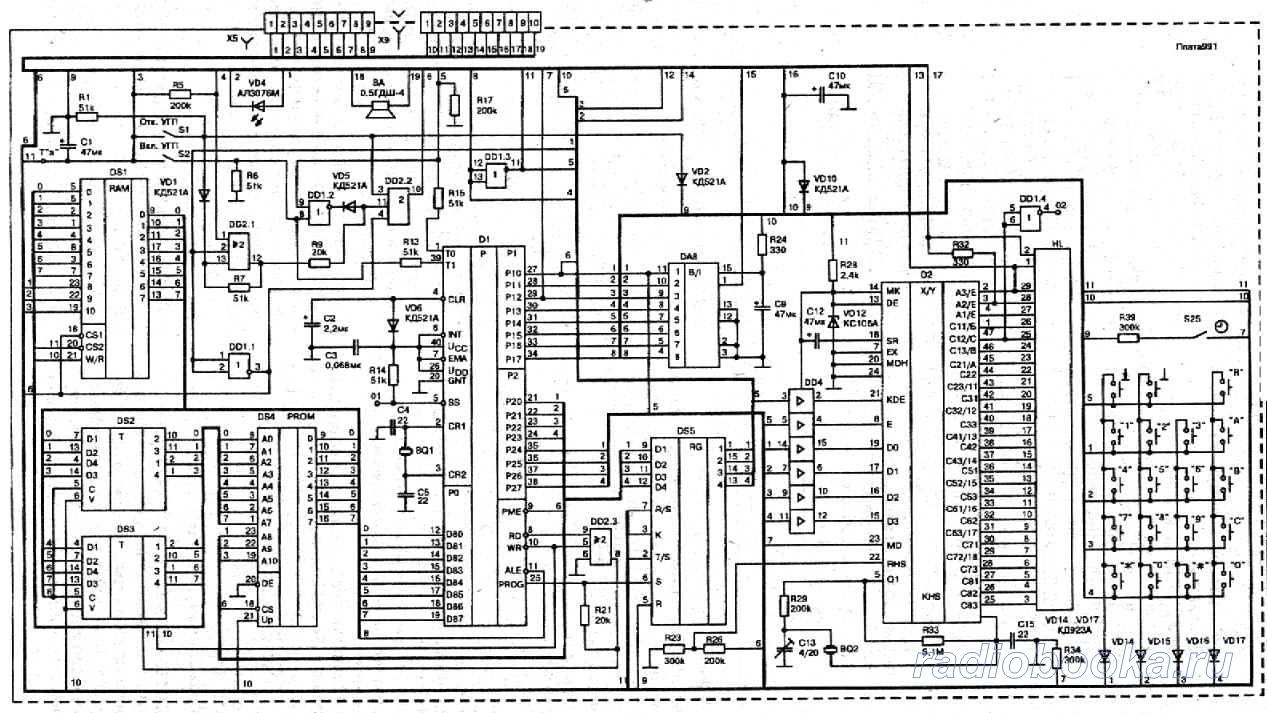 """Схема управления и индикации ТА  """"Спектр-001 """" ."""