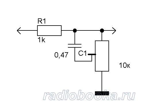 Простейший регулятор высоких частот схема